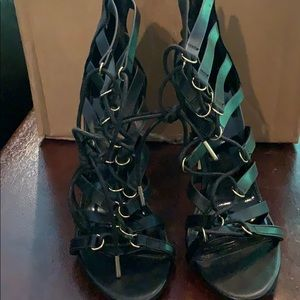 Sexy black strappy sandals size 8 forever 21